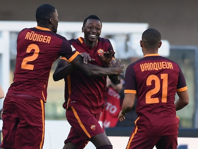 Umar Sadiq celebrates during the game between Chievo and Roma on January 6, 2016