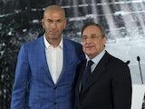 New Real Madrid manager Zinedine Zidane poses with president Florentino Perez on January 4, 2016