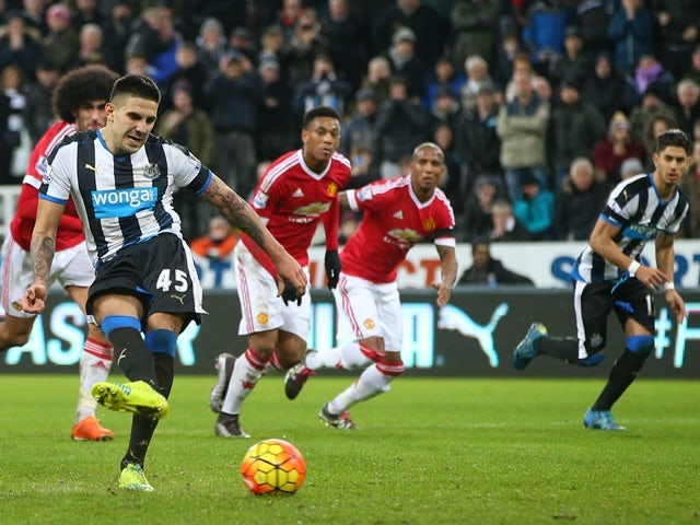 Aleksandar Mitrovic of Newcastle United scores their second and equalising goal from a penalty during the Barclays Premier League match against Manchester United at St James' Park on January 12, 2016