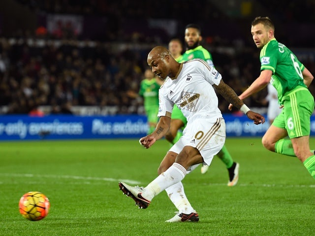 Andre Ayew of Swansea City scores his team's second goal against Sunderland at the Liberty Stadium on January 13, 2016