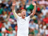 Ben Stokes majestically raises his arms into the air on day three of the third Test between South Africa and England on January 16, 2016