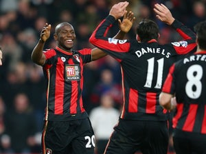Benik Afobe celebrates after scoring his first Bournemouth goal against Norwich City on January 16, 2016