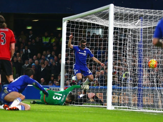 Cesar Azpilicueta celebrates scoring Chelsea's first goal against West Bromwich Albion at Stamford Bridge on January 13, 2016