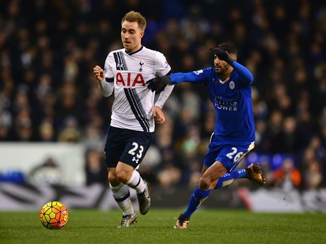 Christian Eriksen of Tottenham Hotspur and Riyad Mahrez of Leicester City compete for the ball at White Hart Lane on January 13, 2016