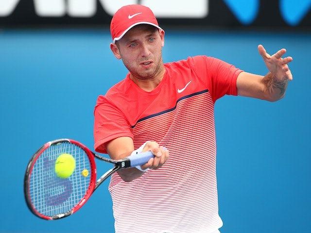 Dan Evans in action during Australian Open qualifying on January 13, 2016