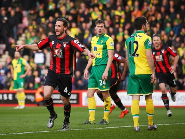 Dan Gosling of Bournemouth celebrates scoring his team's first goal against Norwich City at the Vitality Stadium on January 16, 2016