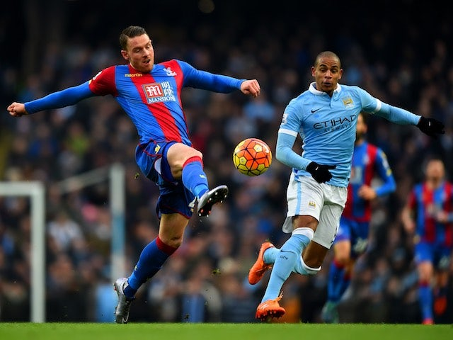 Fernando and Connor Wickham in action during the game between Man City and Crystal Palace on January 16, 2016