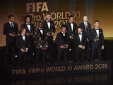 The FIFA FIFPro World XI assembles on stage at Ballon d'Or Gala 2015 at the Kongresshaus on January 11, 2016