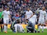 Gareth Bale of Real Madrid lies injured during the La Liga match against Sporting Gijon on January 17, 2016