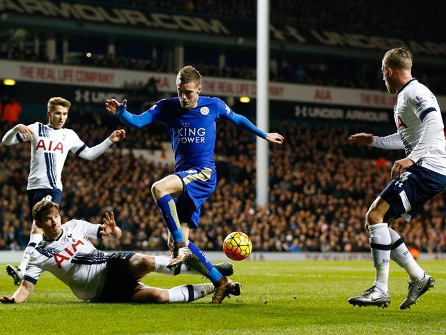 Jamie Vardy of Leicester City and Ben Davies of Tottenham Hotspur compete for the ball at White Hart Lane on January 13, 2016