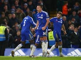 John Terry celebrates his last-minute equaliser during the game between Chelsea and Everton on January 16, 2016