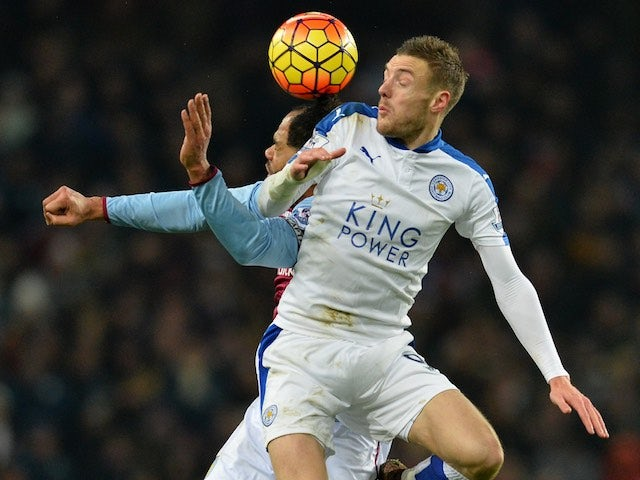 Joleon Lescott vies with aerial threat Jamie Vardy during the game between Aston Villa and Leicester on January 16, 2016