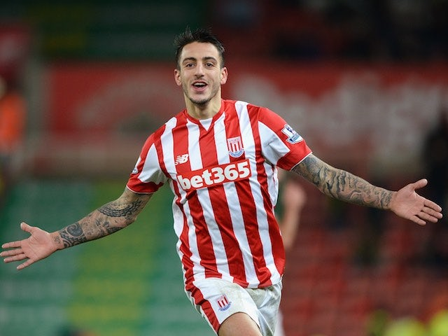 Joselu celebrates scoring during the game between Stoke and Norwich on January 13, 2016