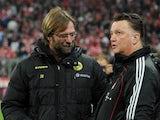 Borussia Dortmund manager Jurgen Klopp and Bayern Munich counterpart Louis van Gaal on February 26, 2011
