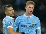A broody Kevin de Bruyne celebrates with Sergio Aguero during the game between Man City and Crystal Palace on January 16, 2016