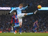 Kevin de Bruyne demonstrates his athletic prowess during the game between Man City and Crystal Palace on January 16, 2016