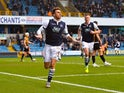 Lee Gregory celebrates scoring the first goal of the League One match between Millwall and Port Vale on January 17, 2016