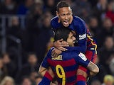 Luis Suarez celebrates getting his brace with Neymar during the game between Barcelona and Athletic Bilbao on January 17, 2016