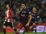 Luis Suarez celebrates scoring during the game between Barcelona and Athletic Bilbao on January 17, 2016