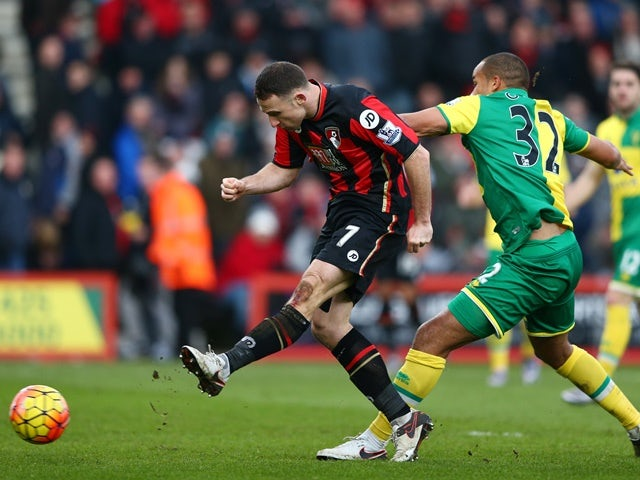 Marc Pugh of Bournemouth and Vadis Odjidja Ofoe of Norwich City compete for the ball on January 16, 2016