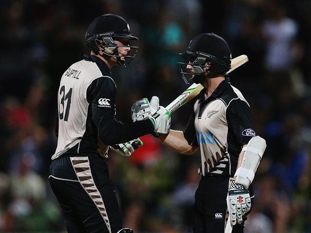 Martin Guptill and Kane Williamson during the International Twenty20 match between New Zealand and Pakistan at Seddon Park on January 17, 2016