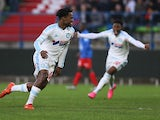 Marseille's Michy Batshuayi celebrates after scoring a goal against Caen on January 17, 2016