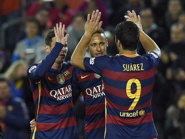 Neymar, Luis Suarez and Lionel Messi congratulate each other during the game between Barcelona and Athletic Bilbao on January 17, 2016
