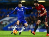 Oscar and Claudio Yacob in action during the game between Chelsea and West Brom on January 13, 2016