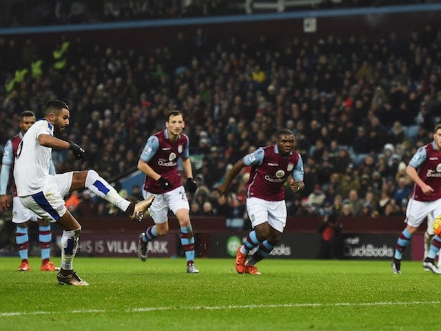 Riyad Mahrez misses a penalty during the game between Aston Villa and Leicester on January 16, 2016