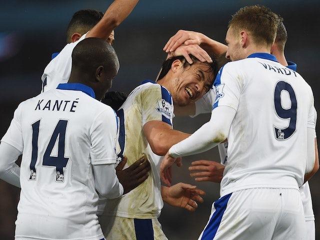 Shinji Okazaki celebrates scoring during the game between Aston Villa and Leicester on January 16, 2016