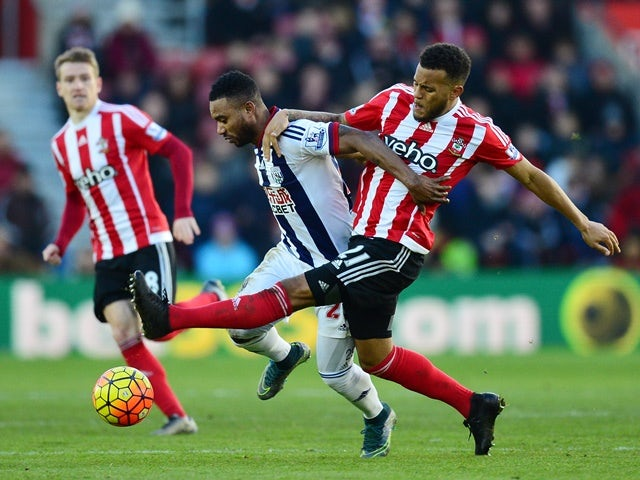 Stephane Sessegnon of West Bromwich Albion and Ryan Bertrand of Southampton compete for the ball on January 16, 2016