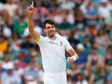 Steven Finn celebrates claiming a wicket on day three of the third Test between South Africa and England on January 16, 2016