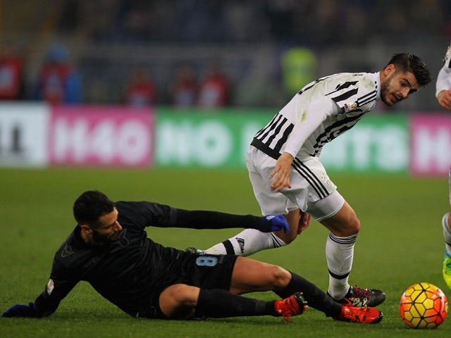 Antonio Candreva of Lazio competes for the ball with Alvaro Morata of Juventus on January 20, 2016