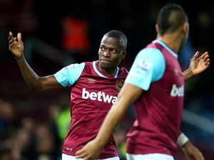Enner Valencia of West Ham United celebrates scoring his team's first goal against Manchester City at the Boleyn Ground on January 23, 2016