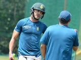 A ripped Faf du Plessis and Russel Domingo during a South Africa nets session on January 21, 2016