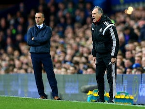 Francesco Guidolin and Roberto Martinez during the Premier League match between Everton and Swansea City at Goodison Park on January 24, 2016