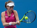 Johanna Konta in action in her second-round match against Zheng Saisai during day four of the 2016 Australian Open on January 21, 2016
