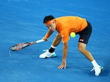 Kei Nishikori in action against Guillermo Garcia-Lopez during day five of the 2016 Australian Open at Melbourne Park on January 22, 2016