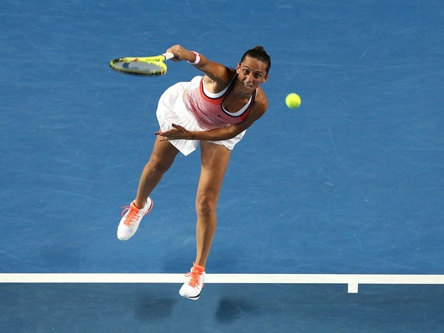 Lauren Davis in action against Maria Sharapova during day five of the 2016 Australian Open at Melbourne Park on January 22, 2016