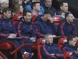Louis van Gaal puts his head in his hands during the Premier League match between Manchester United and Southampton on January 23, 2016