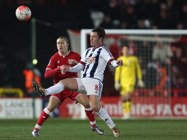 Luke Freeman and Craig Gardner in action during the FA Cup game between Bristol City and West Bromwich Albion on January 19, 2016