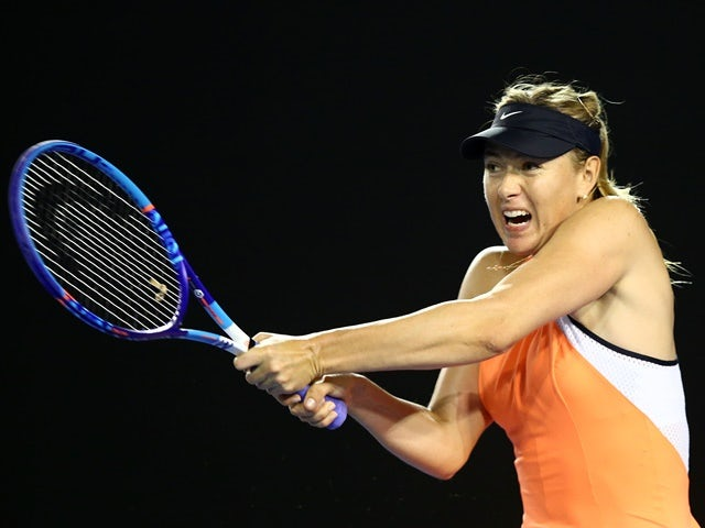 Maria Sharapova in action against Lauren Davis during day five of the 2016 Australian Open at Melbourne Park on January 22, 2016