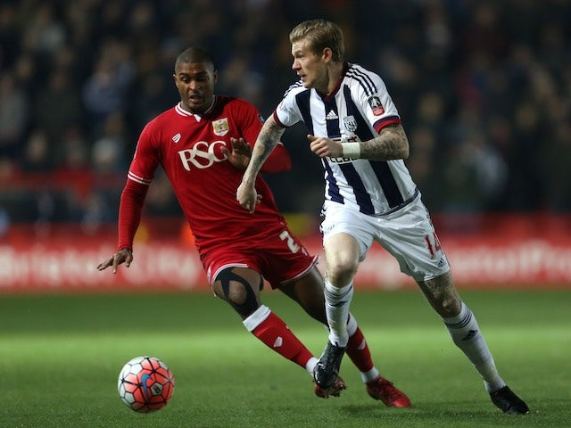 Mark Little and James McClean in action during the FA Cup game between Bristol City and West Bromwich Albion on January 19, 2016