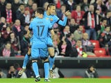 Barcelona's Neymar celebrates a goal with teammate Munir El Haddadi during the Spanish Copa del Rey on January 20, 2016