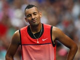 Nick Kyrgios reacts in his second-round match against Pabio Cuevas during day three of the 2016 Australian Open at Melbourne Park on January 20, 2016