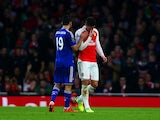 Olivier Giroud reacts to being substituted during the game between Arsenal and Chelsea on January 24, 2016