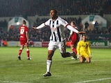 Salomon Rondon celebrates scoring during the FA Cup game between Bristol City and West Bromwich Albion on January 19, 2016