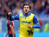 Alberto Paloschi of Chievo Verona celebrates after scoring a goal against Genoa on October 18, 2015