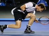 Andy Murray (apparently) celebrating during the Australian Open semi-final with Milos Raonic on January 29, 2016