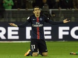 Angel Di Maria complains about a foul during PSG's 2-0 win over Saint-Etienne on January 31, 2016